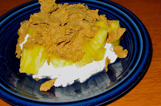 Cottage Cheese Pineapple And Bran Flakes For Breakfast