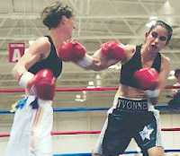 My sparring partner Yvonne in action