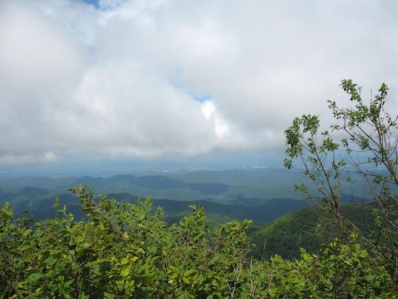 Pisgah summit, clouds rolling across