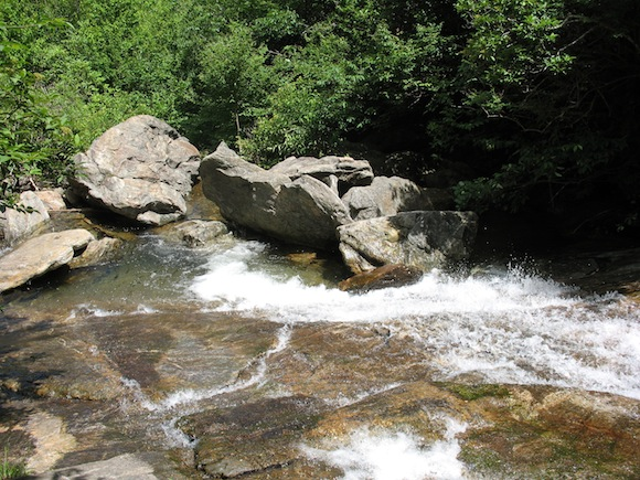 A section of the Upper Falls at Graveyard Fields. The photo doesn't show how incredibly steep the pitch is.