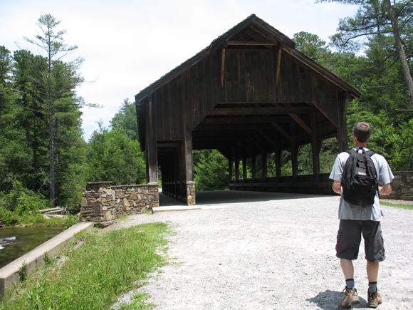 Covered bridge at Triple Falls in Dupont Forest