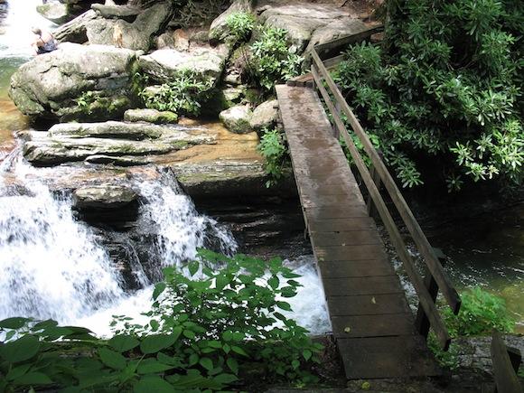 Footbridge across Skinny Dip Falls