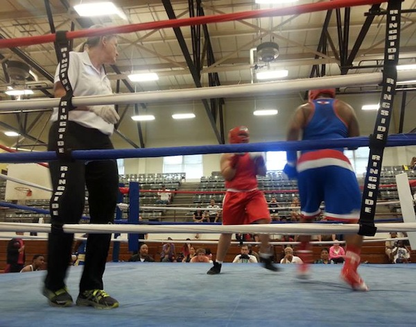 Officiating an amateur boxing match